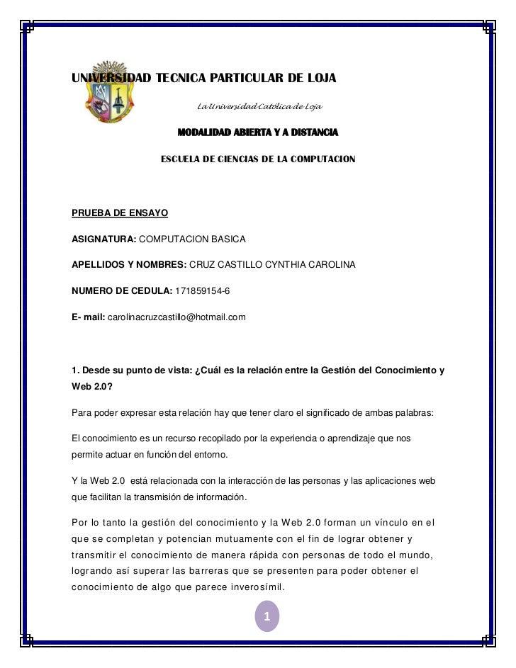 UNIVERSIDAD TECNICA PARTICULAR DE LOJA                               La Universidad Católica de Loja                      ...