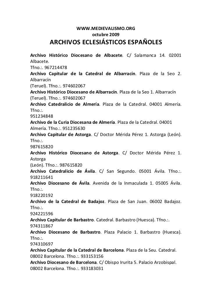 WWW.MEDIEVALISMO.ORG                            octubre2009          ARCHIVOSECLESIÁSTICOSESPAÑOLESArchivo Históri...