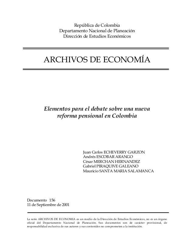 República de Colombia                      Departamento Nacional de Planeación                       Dirección de Estudios...