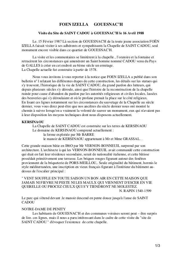 FOEN IZELLA  GOUESNAC'H  Visite du Site de SAINT CADOU à GOUESNAC'H le 16 Avril 1988 Le. 15 Février 1987 Là section de GOU...