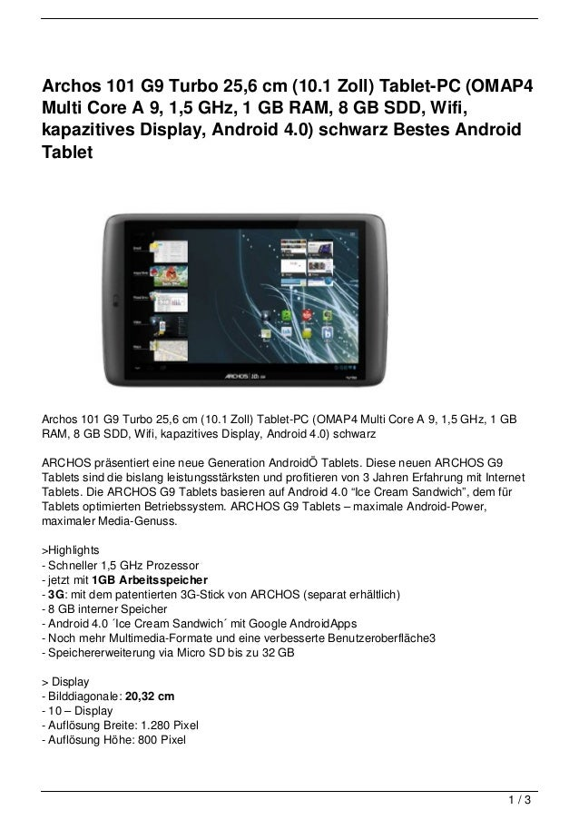 Archos 101 G9 Turbo 25,6 cm (10.1 Zoll) Tablet-PC (OMAP4Multi Core A 9, 1,5 GHz, 1 GB RAM, 8 GB SDD, Wifi,kapazitives Disp...