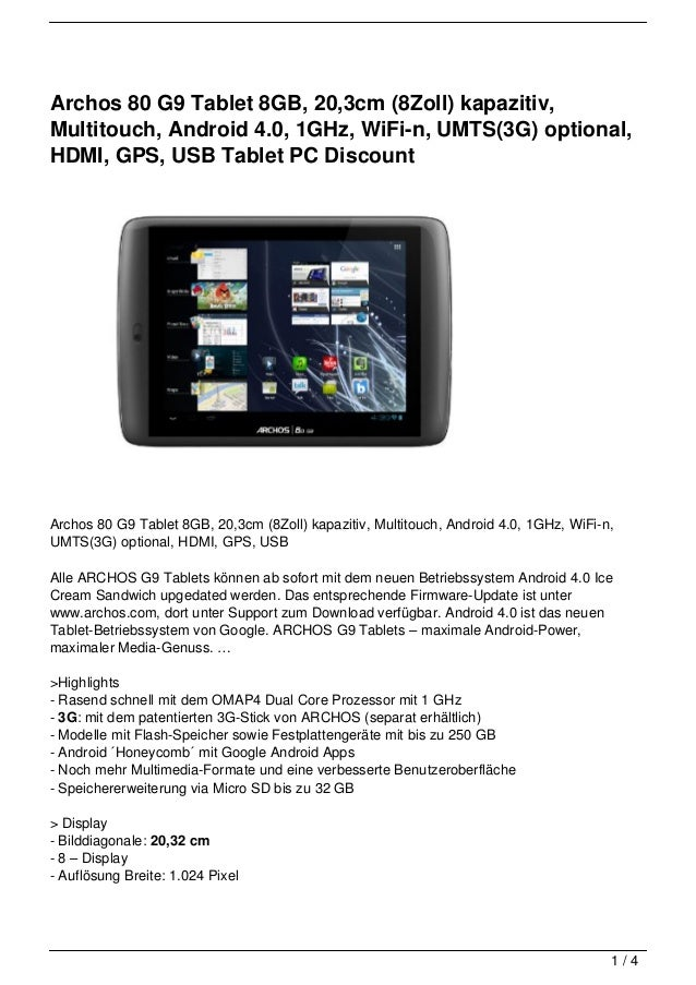 Archos 80 G9 Tablet 8GB, 20,3cm (8Zoll) kapazitiv,Multitouch, Android 4.0, 1GHz, WiFi-n, UMTS(3G) optional,HDMI, GPS, USB ...