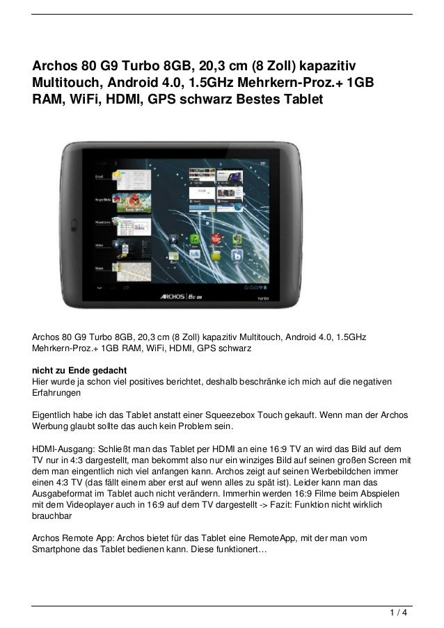 Archos 80 G9 Turbo 8GB, 20,3 cm (8 Zoll) kapazitivMultitouch, Android 4.0, 1.5GHz Mehrkern-Proz.+ 1GBRAM, WiFi, HDMI, GPS ...