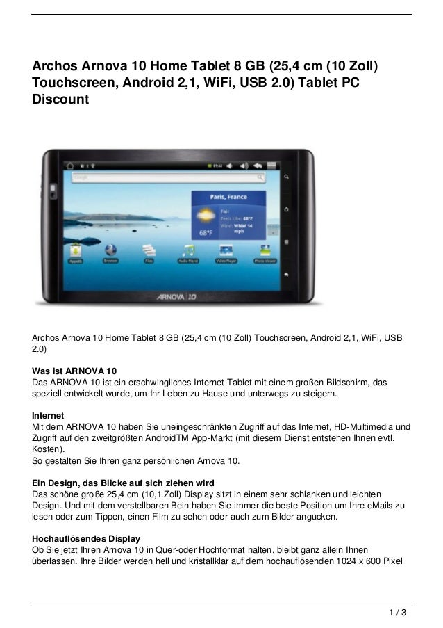 Archos Arnova 10 Home Tablet 8 GB (25,4 cm (10 Zoll)Touchscreen, Android 2,1, WiFi, USB 2.0) Tablet PCDiscountArchos Arnov...