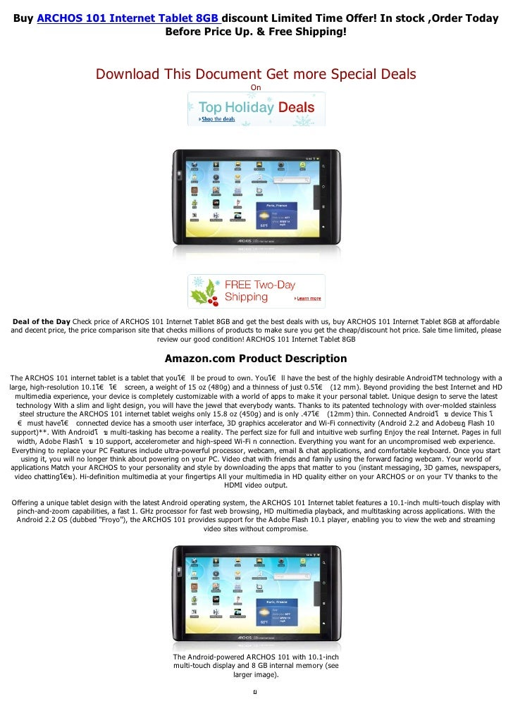 Buy ARCHOS 101 Internet Tablet 8GB discount Limited Time Offer! In stock ,Order Today                          Before Pric...