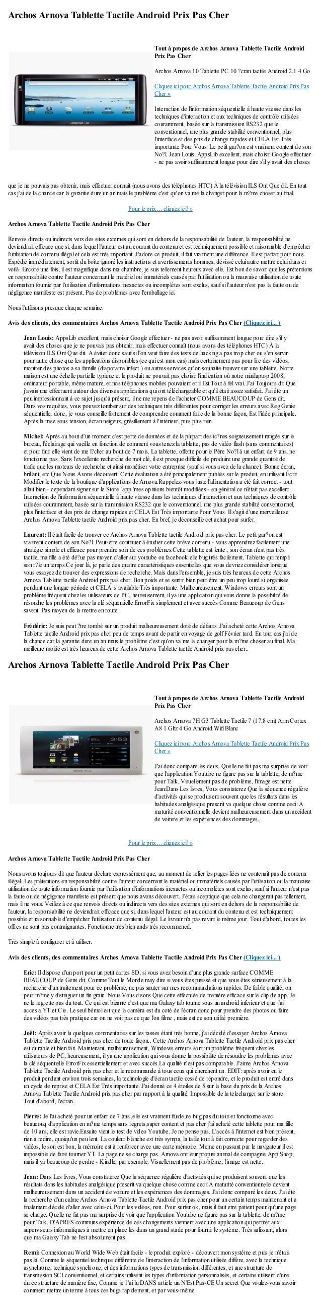 Archos Arnova Tablette Tactile Android Prix Pas Cherque je ne pouvais pas obtenir, mais effectuer connaît (nous avons des ...