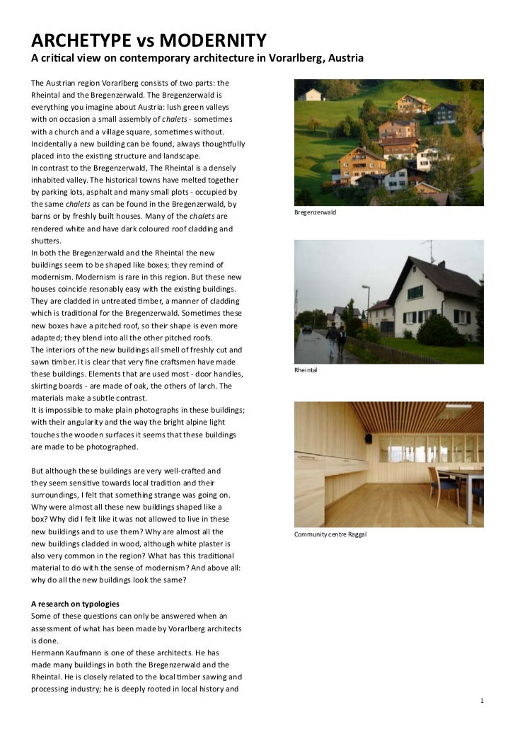 ARCHETYPE vs MODERNITYA critical view on contemporary architecture in Vorarlberg, AustriaThe Austrian region Vorarlberg co...
