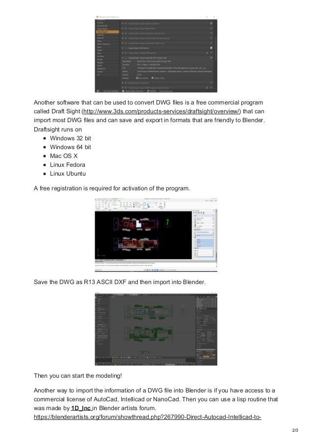 Archvizblender com how to import dwg files into blender
