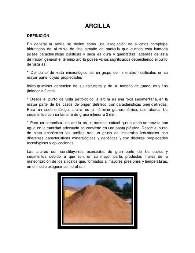 Arcilla monografia for Roca definicion