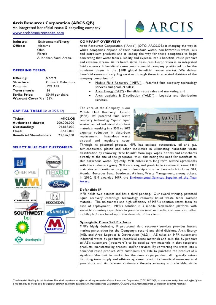 Arcis Resources Corporation (ARCS.QB)An integrated beneficial reuse & recycling companywww.arcisresourcescorp.comIndustry:...