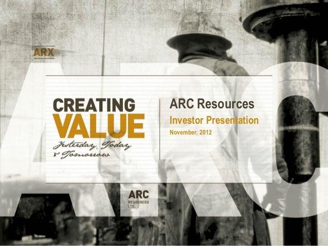 ARC ResourcesInvestor PresentationNovember, 2012