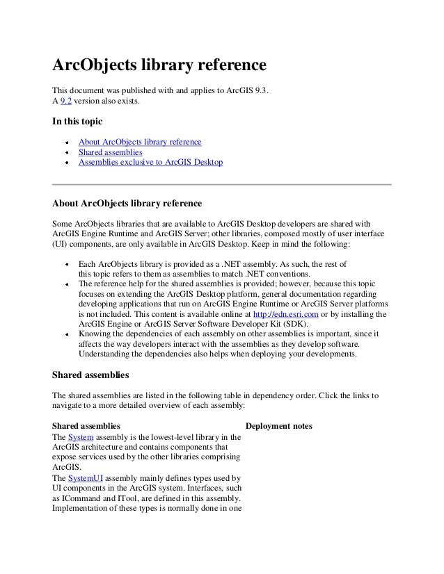 ArcObjects library reference This document was published with and applies to ArcGIS 9.3. A 9.2 version also exists. In thi...