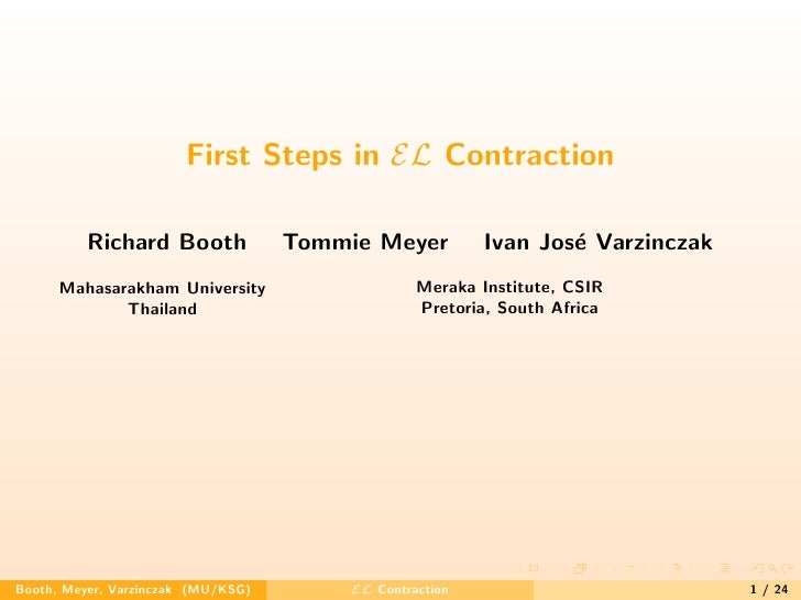 First Steps in EL Contraction