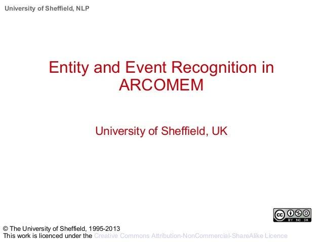 University of Sheffield, NLP Entity and Event Recognition in ARCOMEM University of Sheffield, UK © The University of Sheff...