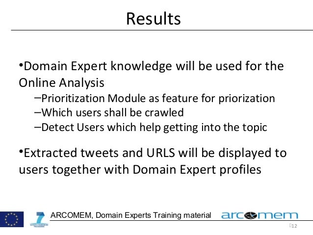 12 ARCOMEM, Domain Experts Training material Results •Domain Expert knowledge will be used for the Online Analysis –Prior...