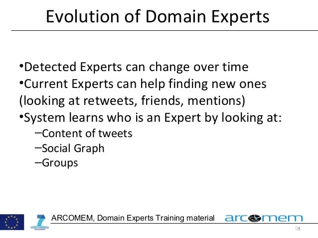 9 ARCOMEM, Domain Experts Training material Evolution of Domain Experts •Detected Experts can change over time •Current E...