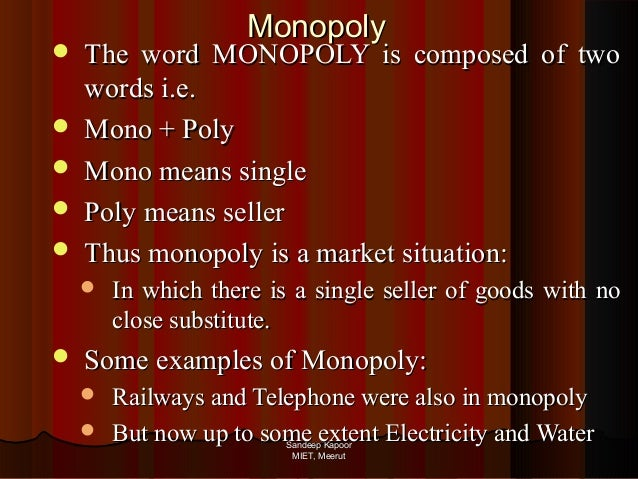 examining perfectly competitive and monopoly and oligopoly A spectrum of possible market structures and outcomes, including perfect  competition,  examine the effects on prices, profits and the number of firms (in  the case of monopolistic competition) of changes in excise or specific taxes  proportional.