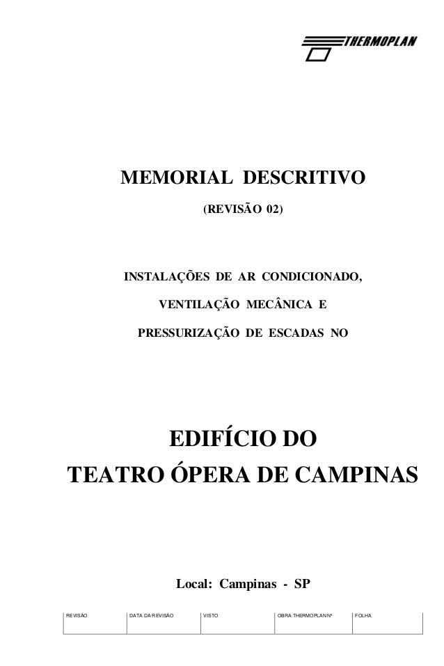REVISÃO DATA DA REVISÃO VISTO OBRA THERMOPLAN Nº FOLHA MEMORIAL DESCRITIVO (REVISÃO 02) INSTALAÇÕES DE AR CONDICIONADO, VE...
