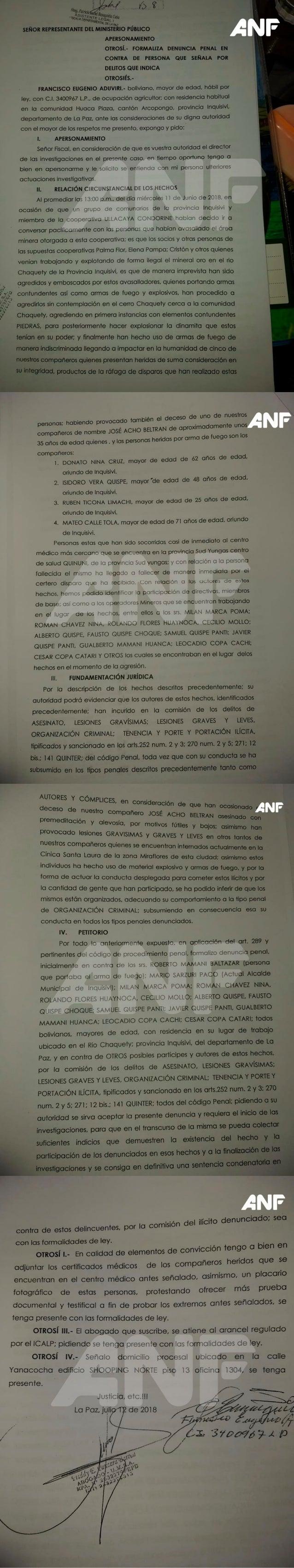Caso Arcopongo: Denuncian por asesinato al alcalde de Inquisivi