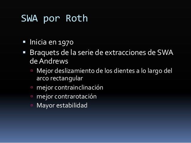 SWA por Roth  Inicia en 1970  Braquets de la serie de extracciones de SWA deAndrews  Mejor deslizamiento de los dientes...