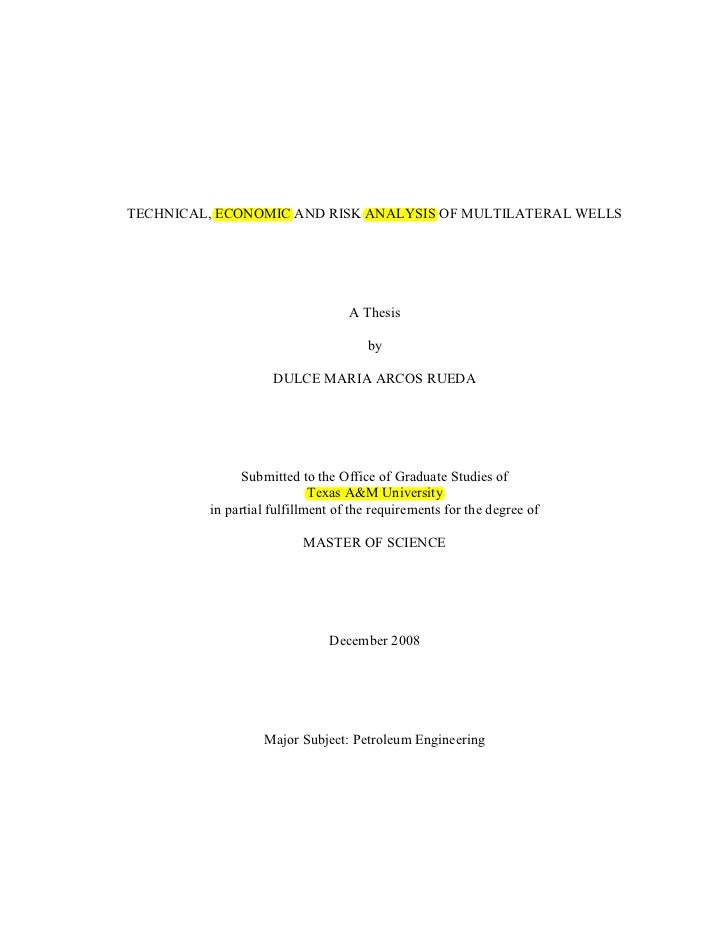 TECHNICAL, ECONOMIC AND RISK ANALYSIS OF MULTILATERAL WELLS                                  A Thesis                     ...