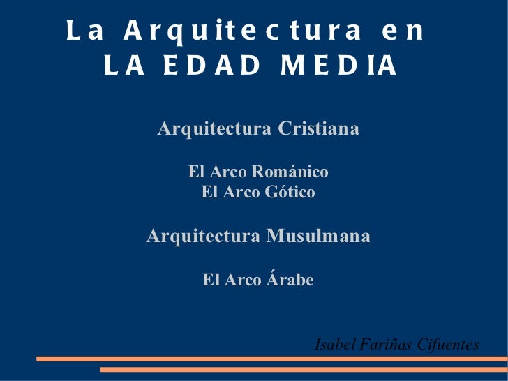 La Arquitectura en  LA EDAD MEDIA Arquitectura Cristiana <ul>El Arco Románico </ul>El Arco Gótico Arquitectura Musulmana E...
