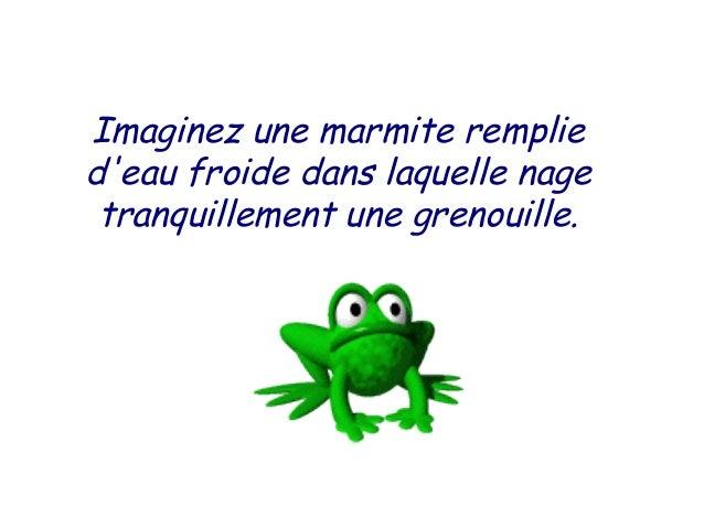 Imaginez une marmite rempliedeau froide dans laquelle nage tranquillement une grenouille.