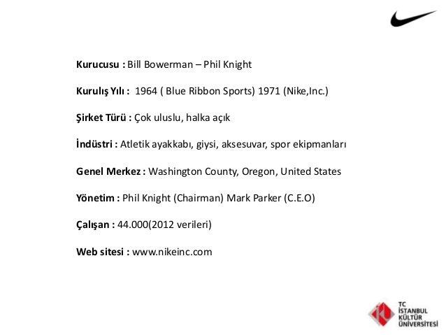 Kurucusu : Bill Bowerman – Phil Knight Kurulış Yılı : 1964 ( Blue Ribbon Sports) 1971 (Nike,Inc.) Şirket Türü : Çok uluslu...