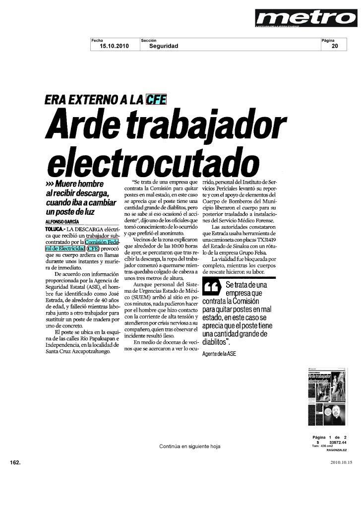 ERA EXTERNO A LA CFE                   Arde trabajador                 electrocutado                          Se trata de ...