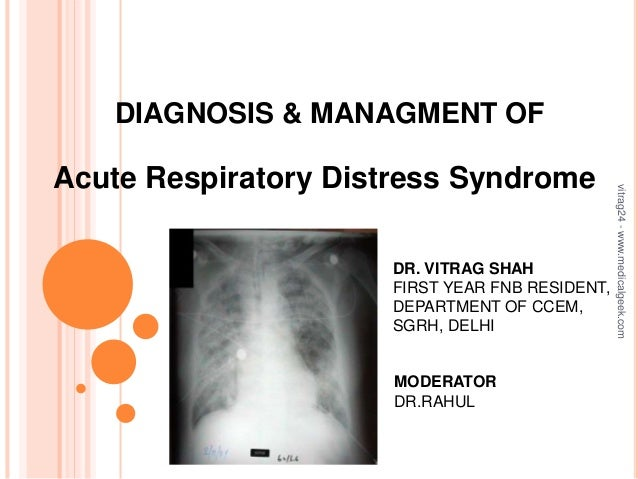 DIAGNOSIS & MANAGMENT OF Acute Respiratory Distress Syndrome DR. VITRAG SHAH FIRST YEAR FNB RESIDENT, DEPARTMENT OF CCEM, ...