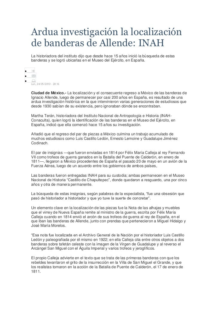 Ardua investigación la localizaciónde banderas de Allende: INAHLa historiadora del instituto dijo que desde hace 15 años i...