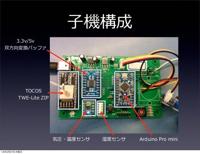 ⼦子機構成 3.3v/5v 双⽅方向変換バッファ  TOCOS TWE-‐‑‒Lite ZIP  気圧・温度度センサ 14年2月27日木曜日  湿度度センサ  Arduino Pro mini