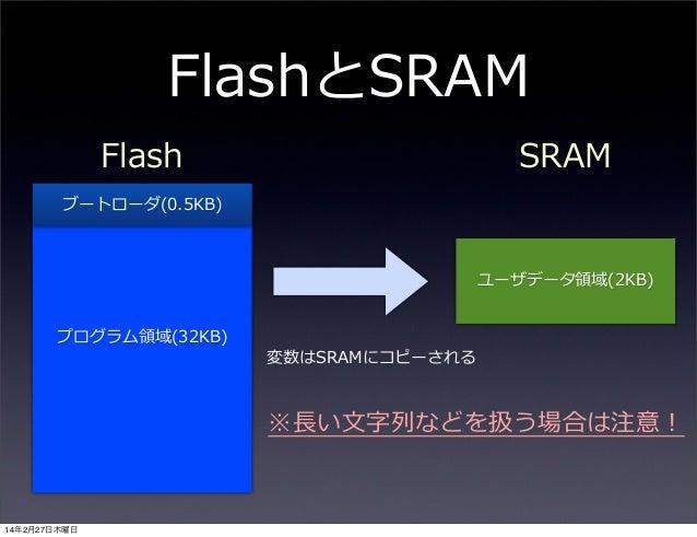FlashとSRAM Flash  SRAM  ブートローダ(0.5KB)  ユーザデータ領領域(2KB) プログラム領領域(32KB)  変数はSRAMにコピーされる  ※⻑⾧長い⽂文字列列などを扱う場合は注意!  14年2月27日木曜日