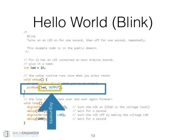 Hello World (Blink) 13 Arguments