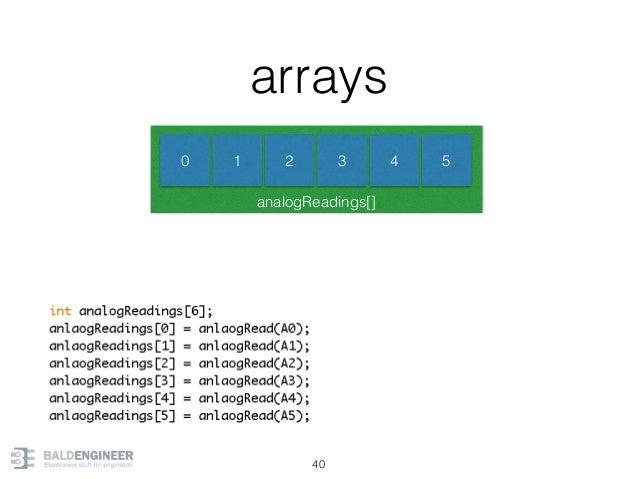 analogReadings[] arrays 40 0 1 2 3 4 5