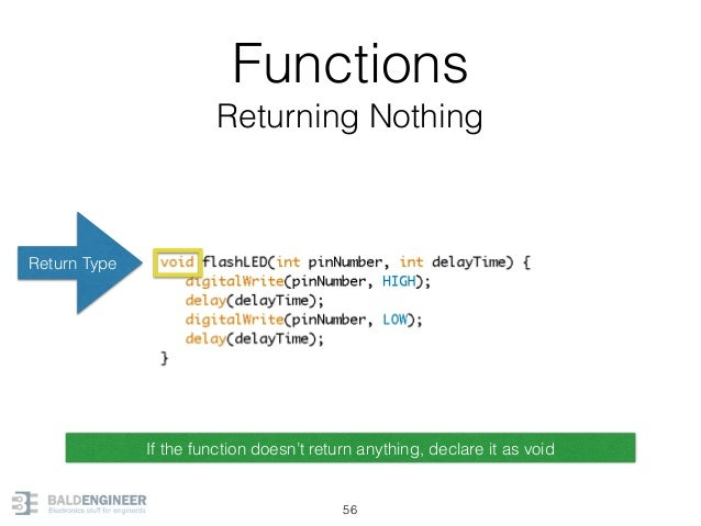 Functions Returning Nothing 56 Return Type If the function doesn't return anything, declare it as void