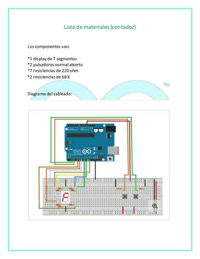 Lista de materiales (contador)  Los componentes son:  *1 display de 7 segmentos  *2 pulsadores normal abierto  *7 resisten...