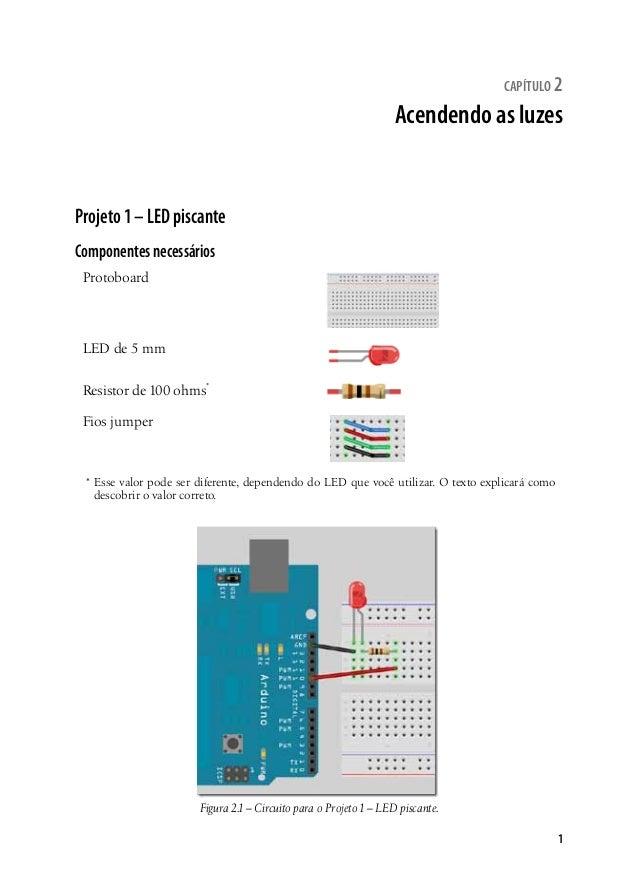 capítulo 2  Acendendo as luzes  1  Projeto 1 – LED piscante  Componentes necessários  Protoboard  LED de 5 mm  Resistor de...