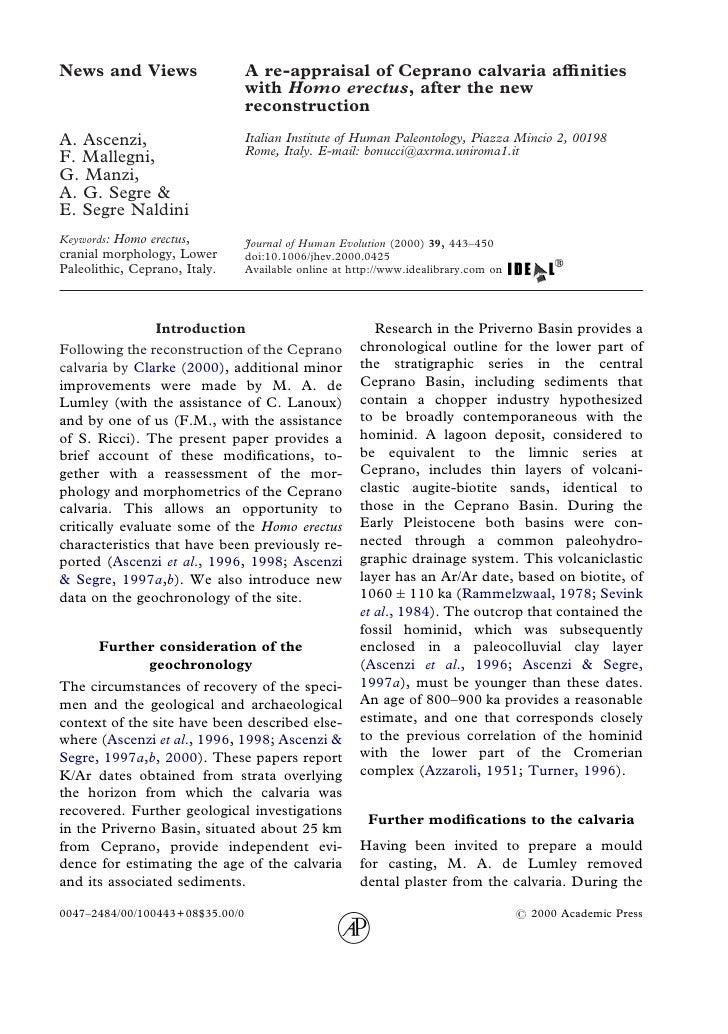 News and Views                   A re-appraisal of Ceprano calvaria affinities                                  with Homo er...