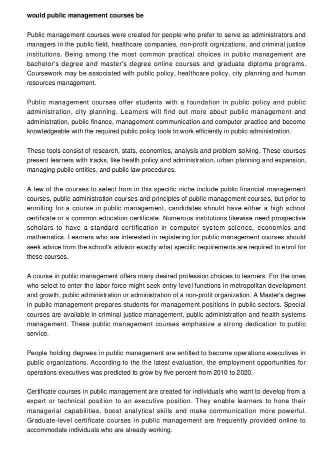 What Do Public Management Courses Entail
