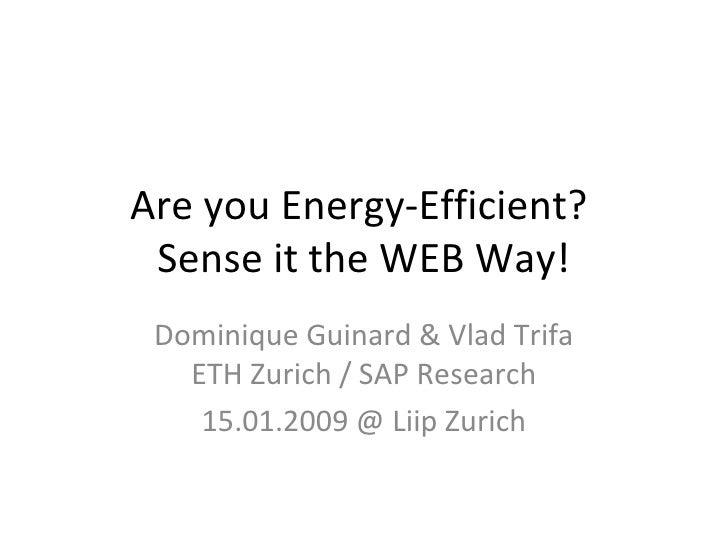 Are you Energy-Efficient?  Sense it the WEB Way! Dominique Guinard & Vlad Trifa ETH Zurich / SAP Research 15.01.2009 @ Lii...