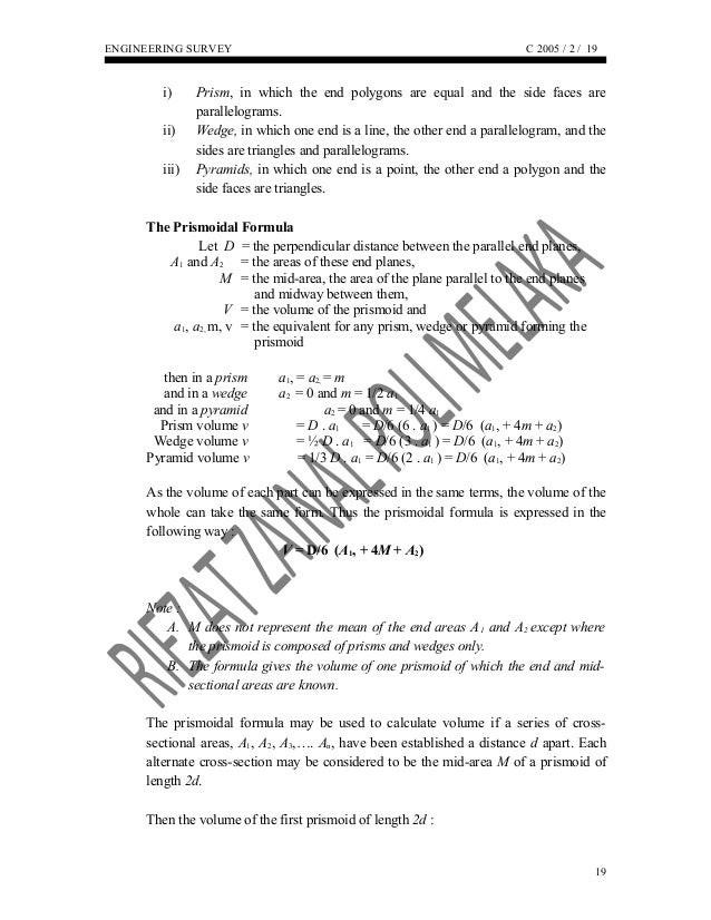 Area and Volume Survey Engineering (RZ)