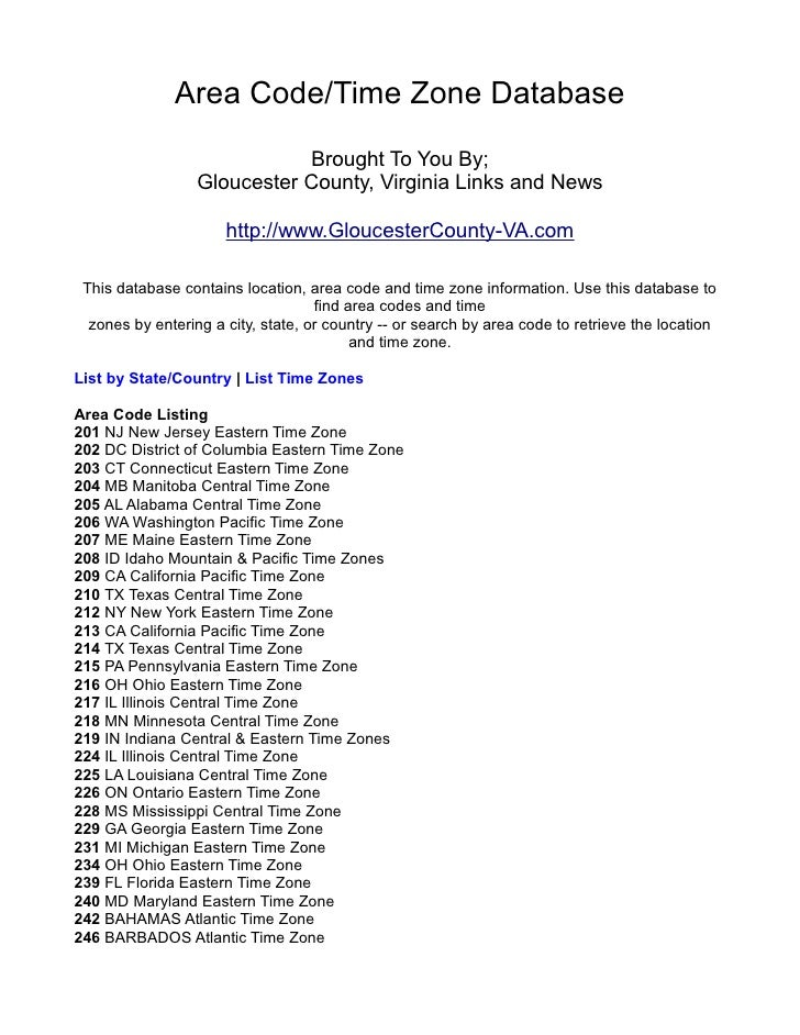 Area Code/Time Zone Database                             Brought To You By;                  Gloucester County, Virginia L...