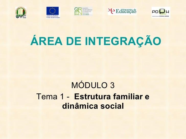 ÁREA DE INTEGRAÇÃO MÓDULO 3 Tema 1 -  Estrutura familiar e dinâmica social