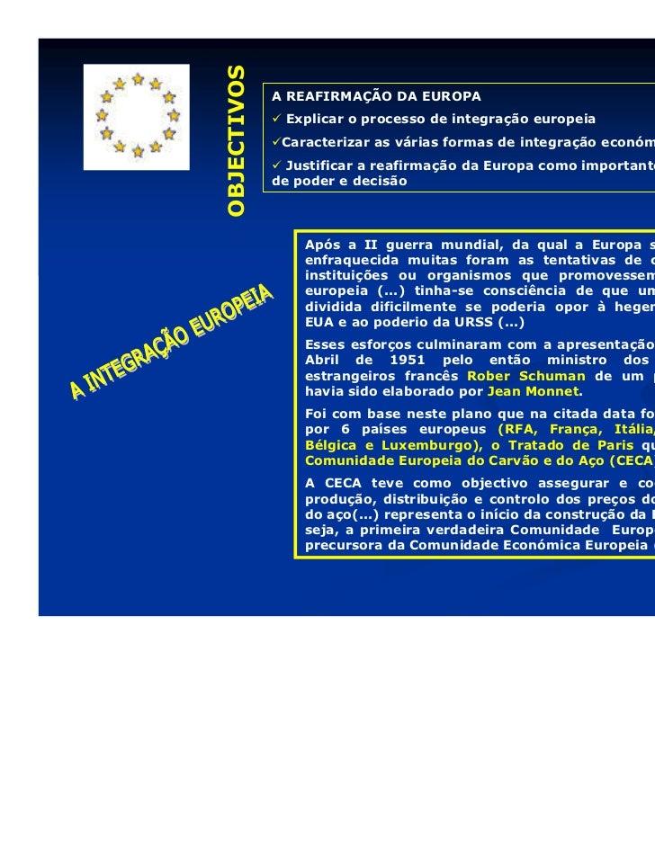OBJECTIVOS             A REAFIRMAÇÃO DA EUROPA              Explicar o processo de integração europeia              Caract...