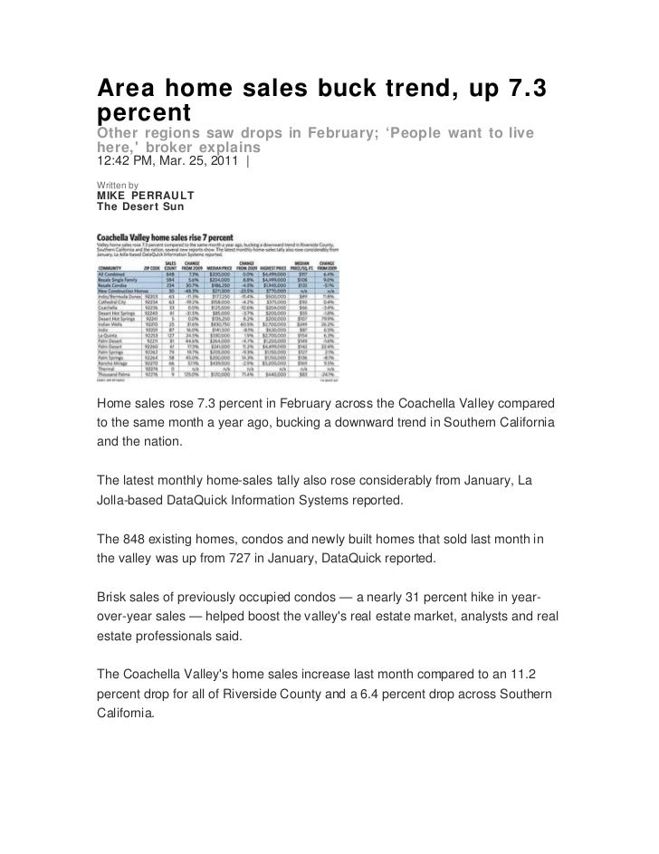 Area home sales buck trend, up 7.3percentOther regions saw drops in February; 'People want to livehere, broker explains12:...