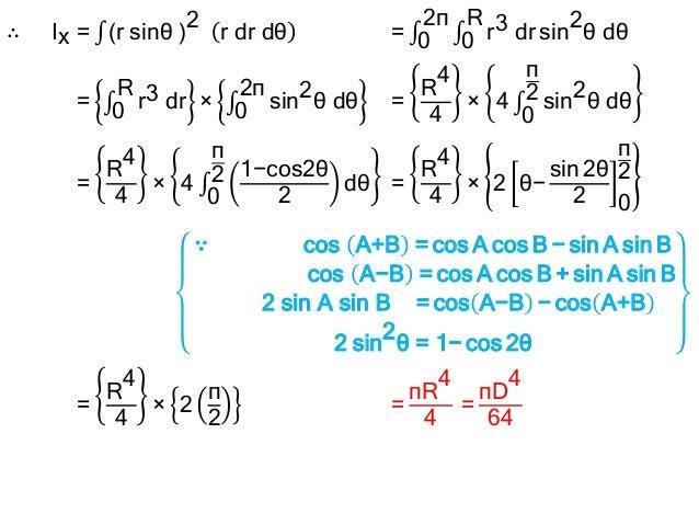 Area moment of inertia and polar moment of inertia of a circle