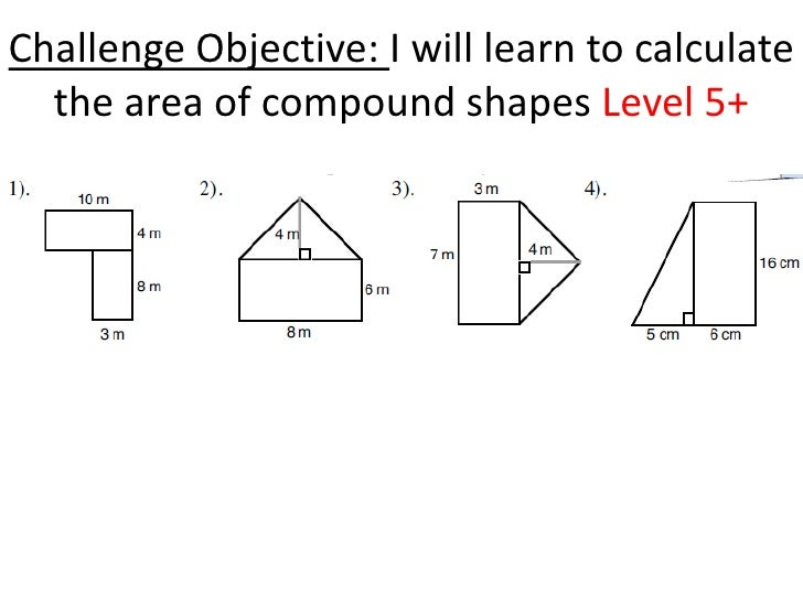 Area of rectangles and triangles – Area Compound Shapes Worksheet