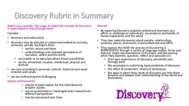 The Rubric - Area of study - discovery