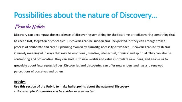 Resourcing the New Area of Study - Discovery